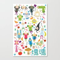 katamari Canvas Prints featuring KATAMARI DAMACY by Erin Lowe
