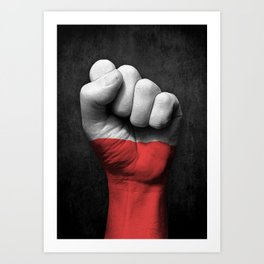Polish Flag on a Raised Clenched Fist Art Print