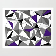 Geo - gray, black, purple and white Art Print
