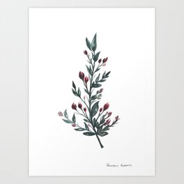 Leafy Rose Buds Art Print