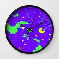 pac man Wall Clocks featuring Pac-Man by Amanda Trader