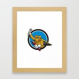 Refrigeration Mechanic Leopard Superhero Circle Cartoon Framed Art Print