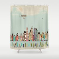 minneapolis Shower Curtains featuring visit minneapolis minnesota by bri.buckley