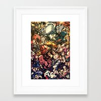 flcl Framed Art Prints featuring FLCL - Phallic Symbol by DA Productions