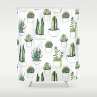 succulent Shower Curtains featuring watercolour cacti and succulent by Vicky Webb