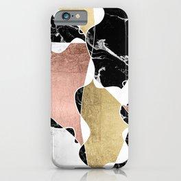 Modern white black marble rose gold foil color block handdrawn geometric lines iPhone Case
