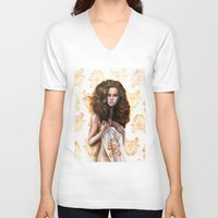 siren V-neck T-shirts featuring siren by Steven Bossler