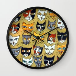 25 Cat Heads Wall Clock