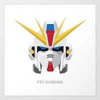 gundam Art Prints featuring F91 Gundam by Ana A