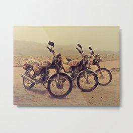 Three Bikes, Three Mascots Metal Print