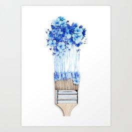 Flower Paint Brush Art Print