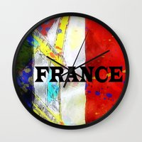 france Wall Clocks featuring FRANCE by Brian Raggatt