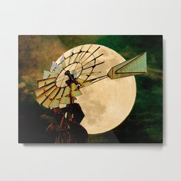Rustic Night Windmill Moon Country Art Farmhouse Art A544 Metal Print