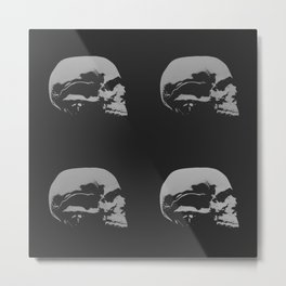 Black and White Graphic Skulls Metal Print