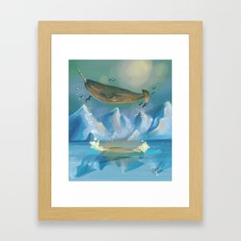 Flying Narwhals Framed Art Print