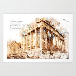 Acropolis, Athens, Aquarell Art Print