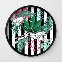 Vintage animalistic design with running cheetah over stripes Wall Clock