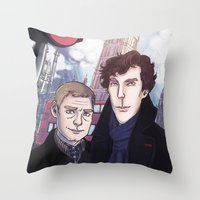 enerjax Throw Pillows featuring London Johnlock by enerjax