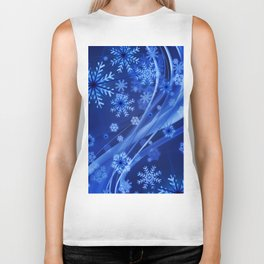 Blue Snowflakes Winter Biker Tank