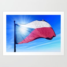 Czech Republic flag waving on the wind Art Print