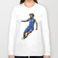 pirlo Long Sleeve T-shirts featuring World Cup - Italy - Andrea Pirlo by DanielHonick