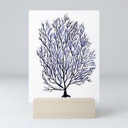 Coral navy seaweed Mini Art Print