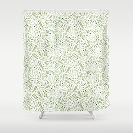 The Birds and the Leaves Shower Curtain