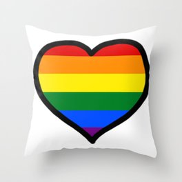 LGBT+ Rainbow Pride Heart Throw Pillow