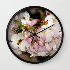 Bee & Cherry Blossoms Wall Clock