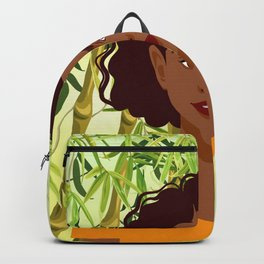 Set of young attractive african american women, Landscape of bamboo stems and leaves background. 2/3 Backpack