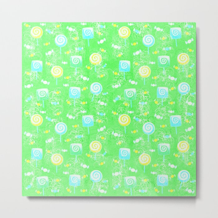 Lollipop and Candy Cheery Lime Green Confection Metal Print