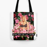 britney Tote Bags featuring BRITNEY PRAYS. by eriicms
