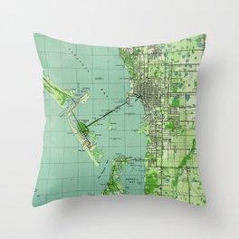 Vintage map of Sarasota Florida (1944) Throw Pillow