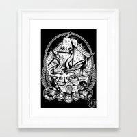 kraken Framed Art Prints featuring Kraken  by Jamie Hodgson Illustration