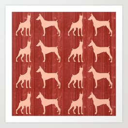 Red wooden board with dobermans shapes Art Print