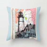 maine Throw Pillows featuring Maine by Ursula Rodgers