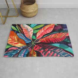 Colorful Tropical Leaves 2 Rug