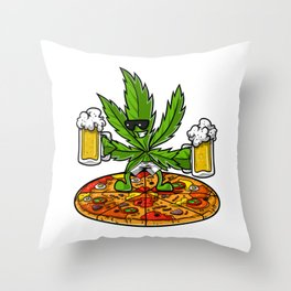 Weed Beer Pizza Stoner Party Throw Pillow