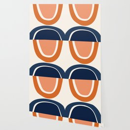 Abstract Shapes 7 in Burnt Orange and Navy Blue Wallpaper