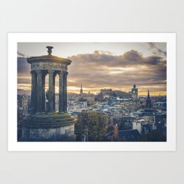 Edinburgh city and castle from Calton hill and Stewart monument Art Print