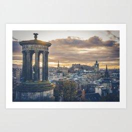 Edinburgh city and castle from Calton hill and Stewart monument Kunstdrucke