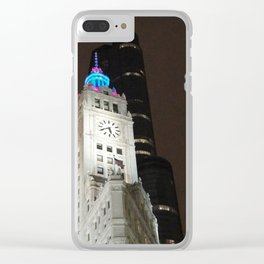 Wrigley building at night Chicago Clear iPhone Case