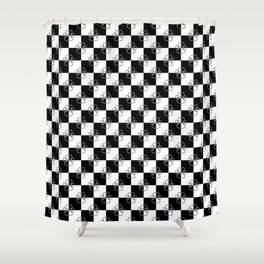 Black and White Checker Dog Paws Shower Curtain