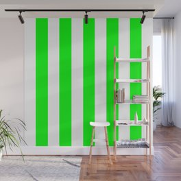 Lime (web) (X11 green) - solid color - white vertical lines pattern Wall Mural
