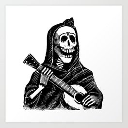 Vintage Illustration, A Skeleton Playing the Guitar Art Print