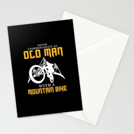 Old Man With Mountain Bike Stationery Cards