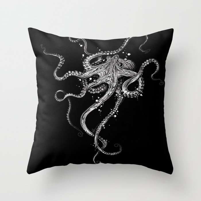 Octopus (black) Throw Pillow