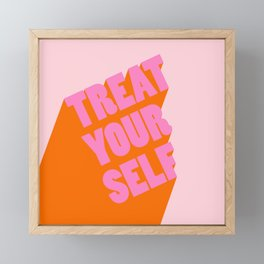 Treat Yourself   Peach Framed Mini Art Print
