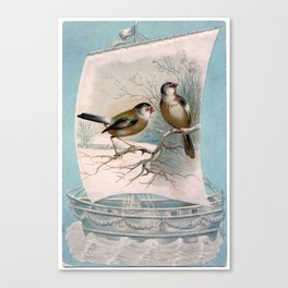 Vintage Birds on a Boat Canvas Print