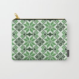 Romanian Traditional Embroidery - Green Carry-All Pouch